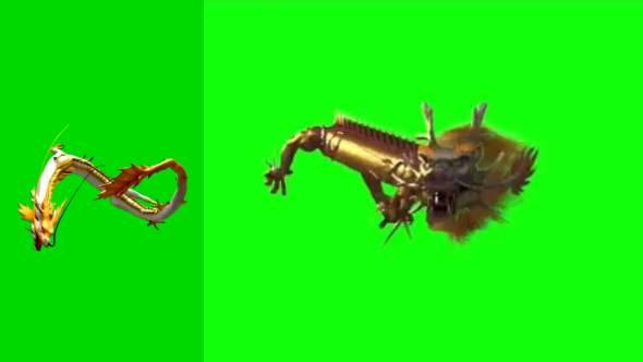 绿幕抠像-7种龙动画绿幕合集