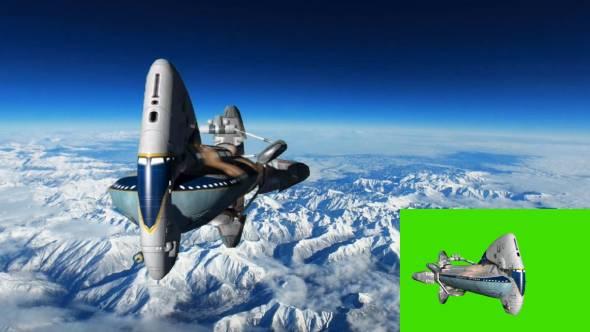 绿幕抠像-3D太空堡垒卡拉狄加飞船动画素材