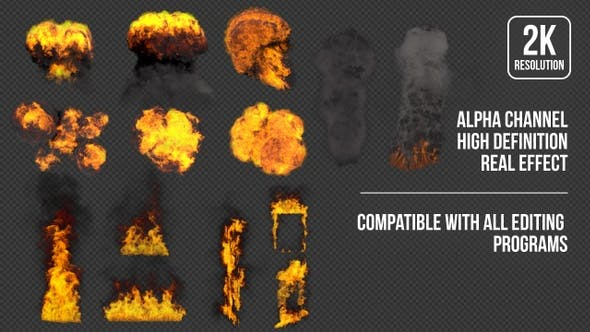 视频素材-2K火焰燃烧地面爆炸烟雾特效动画素材