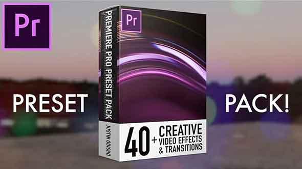 PR预设-40模糊溶解定向闪烁毛刺翘曲发光视频转场