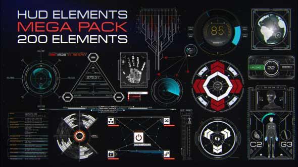 AE模板-200个高科技HUD钢铁侠机器人操作面板元素包