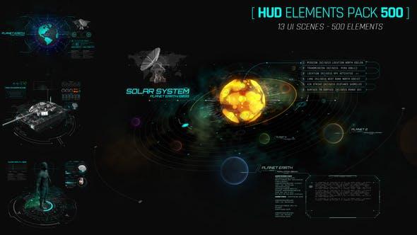 AE模板-500个HUD科技感银河系军事雷达武器动态UI元素包