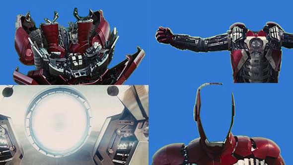 4K钢铁侠蓝背变形动画抠像视频