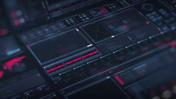 AE模板-科技感HUD屏幕界面UI元素动画