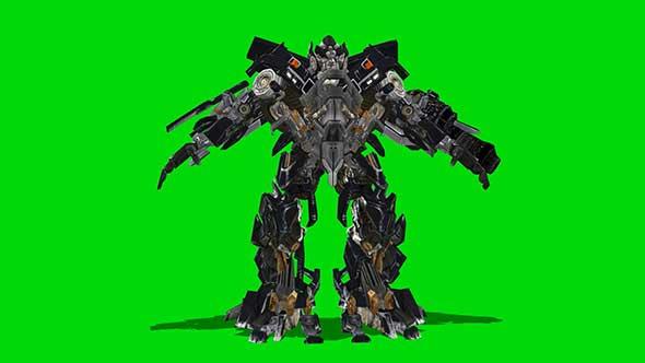 机器人变形动画绿幕抠像素材