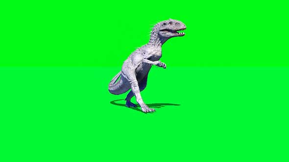 恐龙奔跑攻击绿幕抠像素材