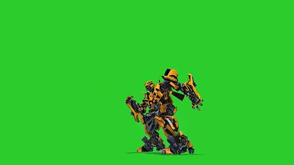 大黄蜂变形动画绿幕抠像素材
