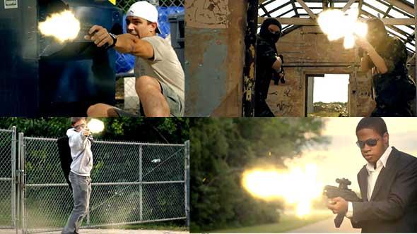 视频素材-电影枪战动作开枪爆炸火花中枪出血特效