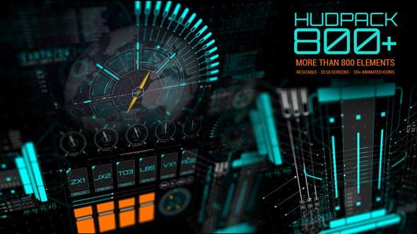 AE模板-800多款HUD UI图表元素动画素材包