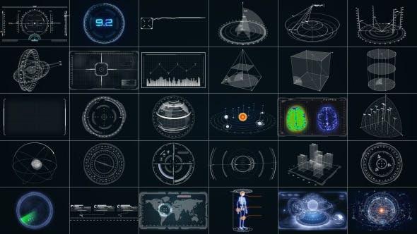 AE模板-30个复杂高科技HUD元素雷达银河系地球数据图形面板动画