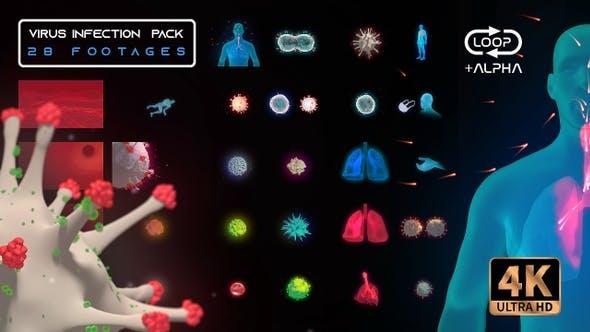 视频素材-28个病毒感染医疗平视HUD科技感循环动画包