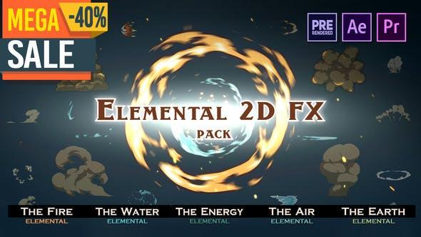 AE模板/PR预设/视频素材-1000组手绘水火烟雾爆炸能量灰尘2D动画