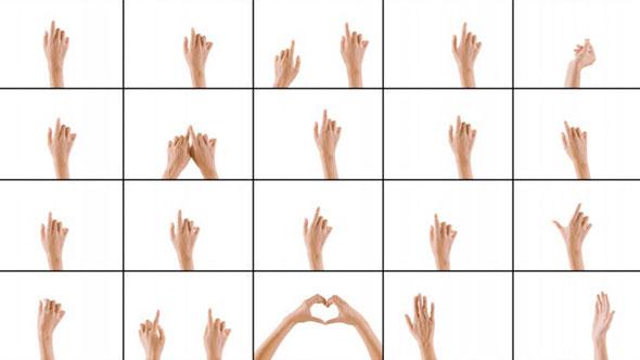 视频素材-20个单手双手手势点击滑动移动拉伸缩放动作