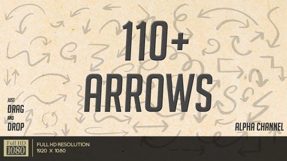 视频素材-115个手绘箭头提示运动图形动画