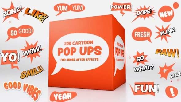 AE模板-200个气泡弹出窗口动漫卡通综艺文字标题动画