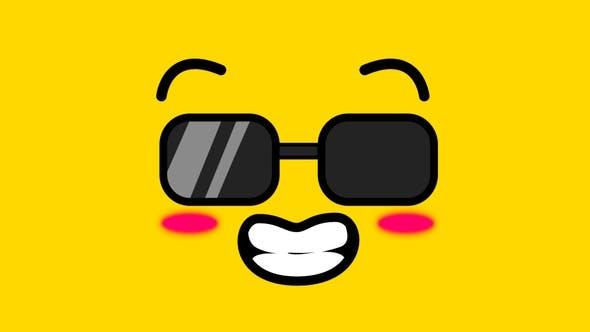 视频素材-18个MG动画动漫卡通可爱鬼脸滑稽面部表情