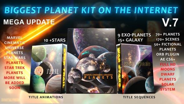 AE模板-宇宙太空科幻星云银河太阳系星球行星动画包