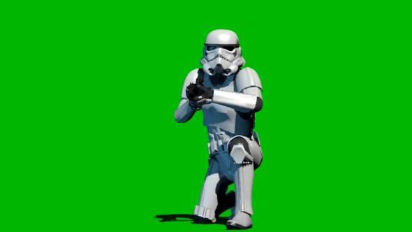 绿幕抠像-突击队员膝盖击落绿屏3D
