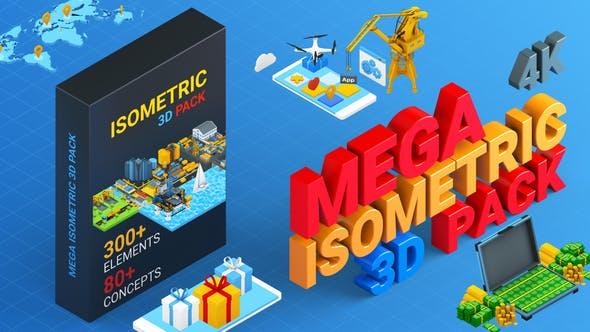 AE模板-3D卡通图形图标三维场景MG元素动画包
