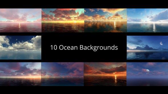视频素材-大海日出日落云彩地平线月亮自然风景延时动画
