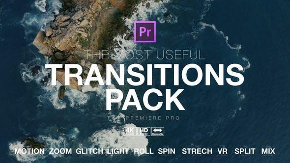 PR模板-电影预告片失真毛刺移动平滑旋转拆分变形缩放无缝过渡转场预设