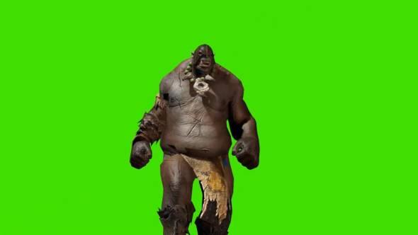 绿幕抠像-食人魔行走绿屏3D