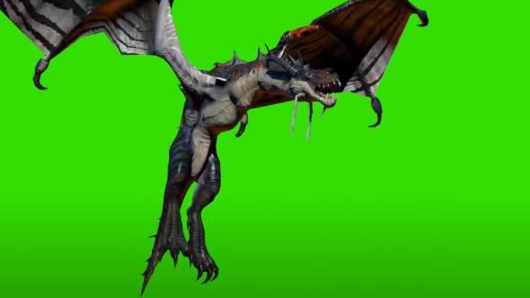 绿幕抠像-3D科幻怪物飞龙