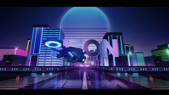 AE模板-赛博朋克科幻未来城市霓虹灯LOGO标题开场