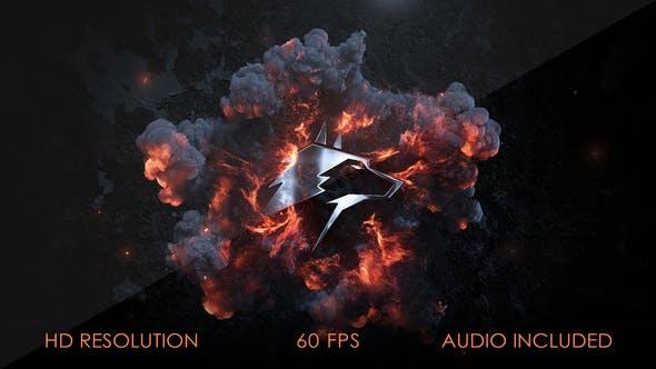 AE模板-大气史诗爆炸燃烧冲击波烟雾电影预告片游戏金属LOGO开场
