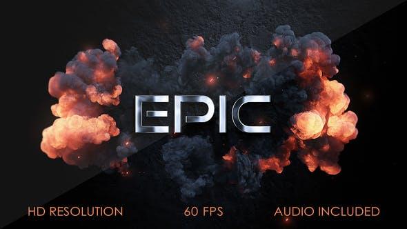 AE模板-大气史诗电影游戏预告片爆炸金属LOGO开场展示