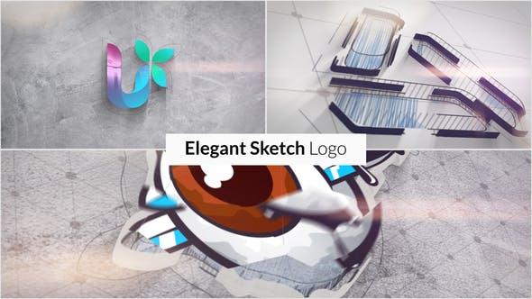 AE模板-3D优雅草图绘图公司产品LOGO展示开场