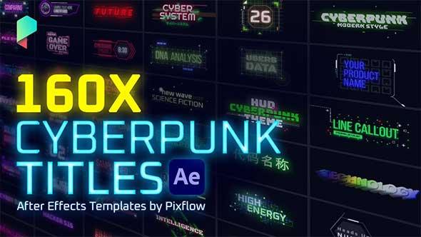 AE脚本-科技感赛博朋克霓虹发光文字标题字幕条动画