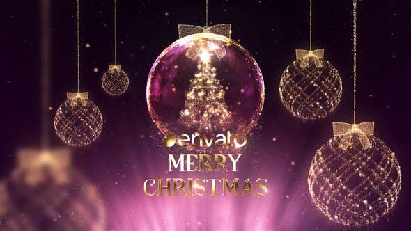 AE模板-金色豪华冬季新年圣诞节祝福