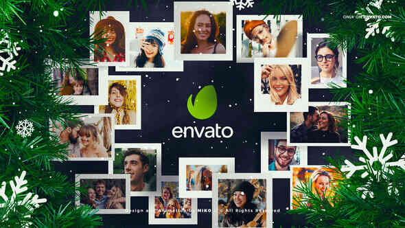 AE模板-新年圣诞节日公司团队LOGO家庭照片祝愿合照展示