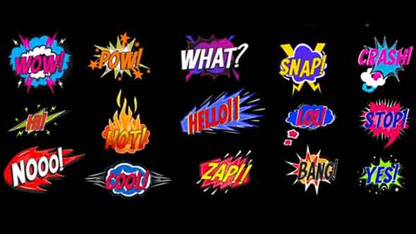 AE模板-卡通综艺可爱有趣花字弹窗气泡标题动画