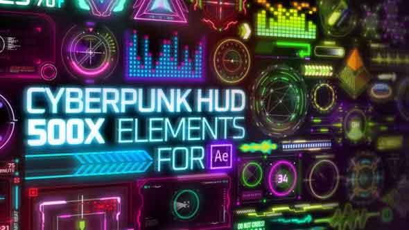 AE脚本-500+HUD未来科技感赛博朋克UI元素动画