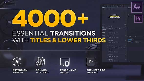 AE脚本-4450组摄像机扭曲干扰分割笔刷水墨视频转场文字标题字幕预设