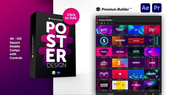 AE/PR脚本模板-208个时尚文字标题排版彩色图形广告海报设计宣传动画