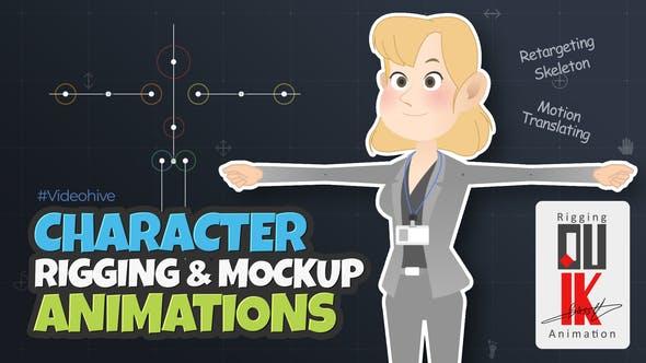 AE模板-2D扁平MG卡通漫画人物面部表情骨骼绑定预设动画