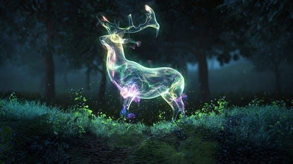 AE模板-魔法森林麋鹿粒子汇聚LOGO展示开场